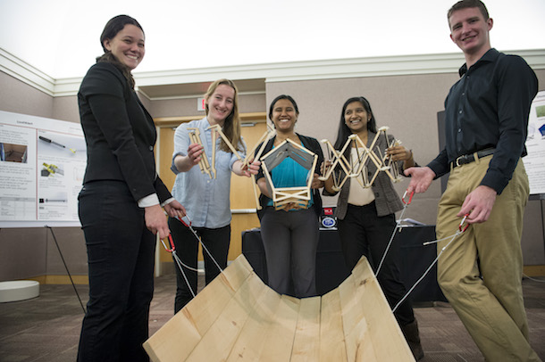 Undergraduate students demo their team project during the senior Design Expo.
