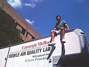 Presto sits on top of the Mobile Air Quality Lab truck.