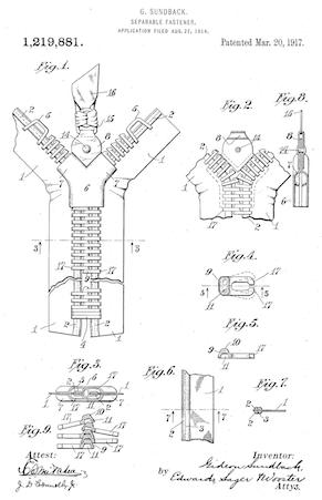 Patent for the zipper
