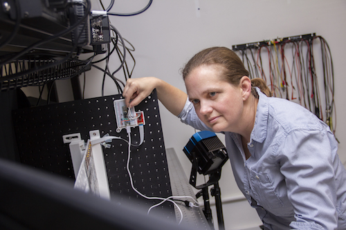 Sarah Bergbreiter in the lab