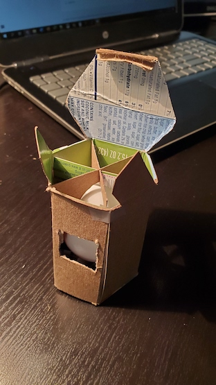 This example from the egg packaging project is a hexagonal, cardboard structure.