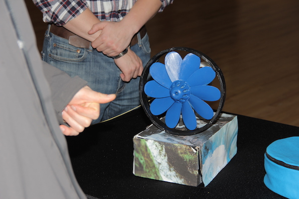 A close up view of the students' portable hydroelectric device.